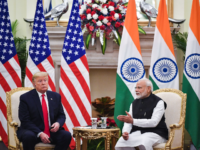 India's Prime Minister Narendra Modi (R) speaks during a meeting with US President Donald Trump at Hyderabad House in New Delhi on February 25, 2020. (Photo by Mandel NGAN / AFP) (Photo by MANDEL NGAN/AFP via Getty Images)