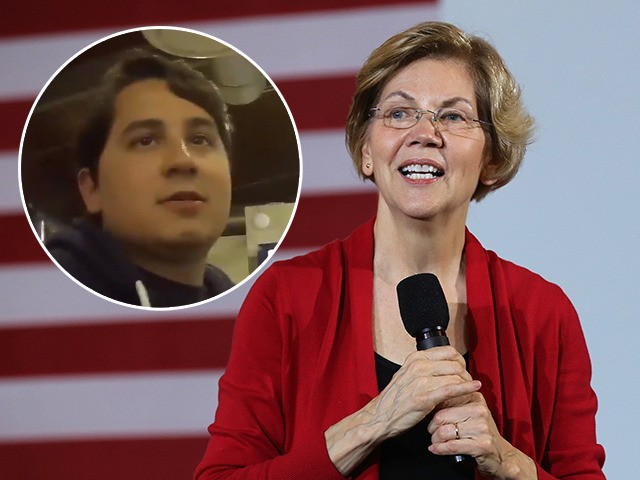 (INSET: A man identified as Warren campaign staffer Angel Alicea) AMES, IOWA - FEBRUARY 02: Democratic presidential candidate Sen. Elizabeth Warren (D-MA) speaks during a campaign event at Iowa State University's Memorial Union February 02, 2020 in Ames, Iowa. With the endorsement of the Des Moines Register newspaper, Warren is …