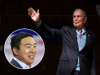 (INSET: Andrew Yang) Democratic presidential candidate Mike Bloomberg waves to a crowd during a rally at The Rustic in Houston, Texas on February 27, 2020. (Photo by Mark Felix / AFP) (Photo by MARK FELIX/AFP /AFP via Getty Images)
