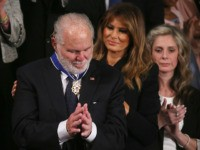 WASHINGTON, DC - FEBRUARY 04: Radio personality Rush Limbaugh reacts after First Lady Melania Trump gives him the Presidential Medal of Freedom during the State of the Union address in the chamber of the U.S. House of Representatives on February 04, 2020 in Washington, DC. President Trump delivers his third …