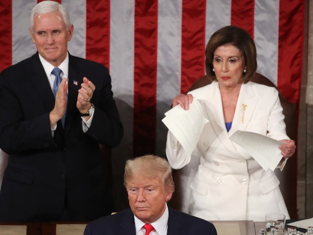 WASHINGTON, DC - FEBRUARY 04: House Speaker Rep. Nancy Pelosi (D-CA) rips up pages of the State of the Union speech after U.S. President Donald Trump finishes his State of the Union speech in the chamber of the U.S. House of Representatives on February 04, 2020 in Washington, DC. President …