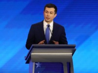 MANCHESTER, NEW HAMPSHIRE - FEBRUARY 07: Democratic presidential candidate former South Bend, Indiana Mayor Pete Buttigieg participates in the Democratic presidential primary debate in the Sullivan Arena at St. Anselm College on February 07, 2020 in Manchester, New Hampshire. Seven candidates qualified for the second Democratic presidential primary debate of …