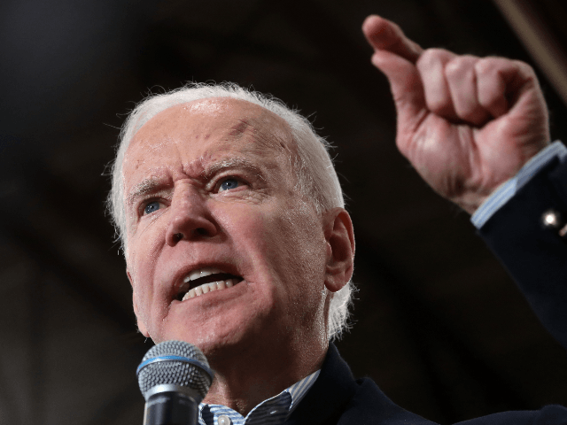 Democratic presidential candidate former Vice President Joe Biden speaks during a campaign event on February 09, 2020 in Hudson, New Hampshire. With two days to go until the New Hampshire primary, Joe Biden is campaigning across the state. (Photo by Justin Sullivan/Getty Images)