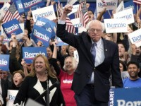 MANCHESTER, NEW HAMPSHIRE - FEBRUARY 11: Democratic presidential candidate Sen. Bernie Sanders (I-VT) takes the stage during a primary night event on February 11, 2020 in Manchester, New Hampshire. New Hampshire voters cast their ballots today in the first-in-the-nation presidential primary. (Photo by Drew Angerer/Getty Images)