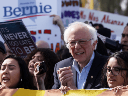 """Joined by members of Make the Road Action and his supporters, Democratic presidential candidate Sen. Bernie Sanders (I-VT), participates in a """"March to the Polls"""" February 15, 2020 in Las Vegas, Nevada. Sen. Sanders continues to campaign for the upcoming Nevada Democratic presidential caucus. (Photo by Alex Wong/Getty Images)"""