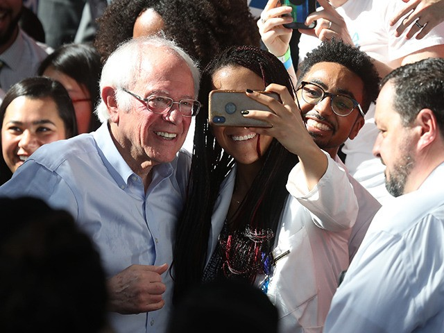RICHMOND, CALIFORNIA - FEBRUARY 17: Democratic presidential candidate Sen. Bernie Sanders (I-VT) takes a photo with an attendee during a campaign event on February 17, 2020 in Richmond, California. Bernie Sanders is campaigning in California ahead of the state's Democratic presidential primary on March 3rd. (Photo by Justin Sullivan/Getty Images)