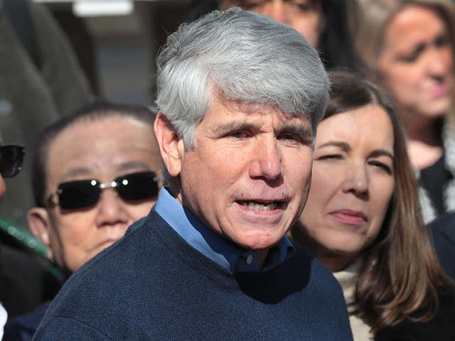CHICAGO, ILLINOIS - FEBRUARY 19: With his wife Patti by his side, former Illinois Governor Rod Blagojevich speaks during a press conference in front of his home on February 19, 2020 in Chicago, Illinois. Blagojevich, who had been serving time in federal prison for attempting to sell Barack Obama's vacant …