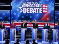 LAS VEGAS, NEVADA - FEBRUARY 19: Democratic presidential candidates (L-R) former New York City Mayor Mike Bloomberg, Sen. Elizabeth Warren (D-MA), Sen. Bernie Sanders (I-VT), former Vice President Joe Biden, former South Bend, Indiana Mayor Pete Buttigieg, and Sen. Amy Klobuchar (D-MN) participate in the Democratic presidential primary debate at …