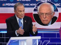 (INSET: Sen. Bernie Sanders, I-VT) LAS VEGAS, NEVADA - FEBRUARY 19: Democratic presidential candidate former New York City Mayor Mike Bloomberg, speaks as Sen. Elizabeth Warren (D-MA) listens during the Democratic presidential primary debate at Paris Las Vegas on February 19, 2020 in Las Vegas, Nevada. Six candidates qualified for …