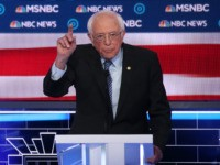 LAS VEGAS, NEVADA - FEBRUARY 19: Democratic presidential candidate Sen. Bernie Sanders (I-VT) gestures during the Democratic presidential primary debate at Paris Las Vegas on February 19, 2020 in Las Vegas, Nevada. Six candidates qualified for the third Democratic presidential primary debate of 2020, which comes just days before the …