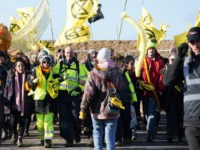 CONSETT, ENGLAND - FEBRUARY 27: Extinction Rebellion demonstrators are escorted out of the Bradley Open Cast coal mine after gaining access earlier in the day on February 27, 2020 in Consett, England. The 'We are the Dead Canaries' action is the first of many during a planned 40 Days of …