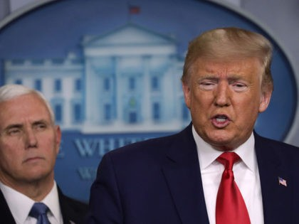WASHINGTON, DC - FEBRUARY 29: U.S. President Donald Trump speaks as Vice President Mike Pence looks on during a news conference at the James Brady Press Briefing Room at the White House February 29, 2020 in Washington, DC. Department of Health in Washington State has reported the first death in …
