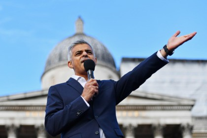 LONDON, ENGLAND - OCTOBER 18: Sadiq Khan, Mayor of London speaks to the spectators during the Olympics & Paralympics Team GB - Rio 2016 Victory Parade at Trafalgar Square on October 18, 2016 in London, England. (Photo by Dan Mullan/Getty Images)