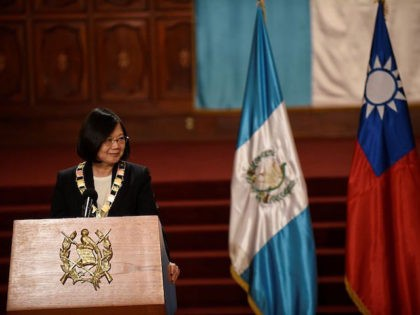 Taiwan's President Tsai Ing-wen is pictured during a press conference offered along with her Guatemalan counterpart Jimmy Morales (out of frame) at the Culture Palace in Guatemala City on January 11, 2017. Tsai is touring Taiwan's Central American allied countries to strengthen cooperation ties. / AFP / Johan ORDONEZ (Photo …