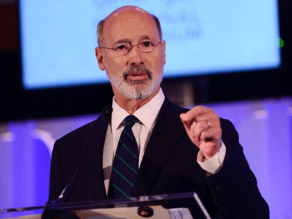"Pennsylvania Gov. Tom Wolf speaks on stage during the Geisinger National Symposium, ""From Crisis to Cure: Revitalizing America's Healthcare System,"" on November 9, 2017 in Danville, Pennsylvania. (Photo by Lisa Lake/Getty Images for Geisinger Symposium)"