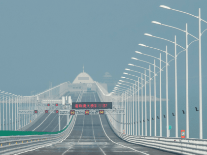 TOPSHOT - A view of an artificial island along the Hong Kong-Zhuhai-Macau Bridge in Zhuhai on March 28, 2018. - Officials say the bridge, billed as the world's longest sea bridge connecting Hong Kong, Macau and mainland China, will boost business and cut travel time, but opponents in Hong Kong …