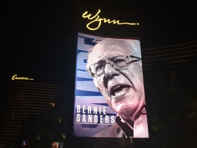 Bernie Sanders above the Strip (Joel Pollak / Breitbart News)
