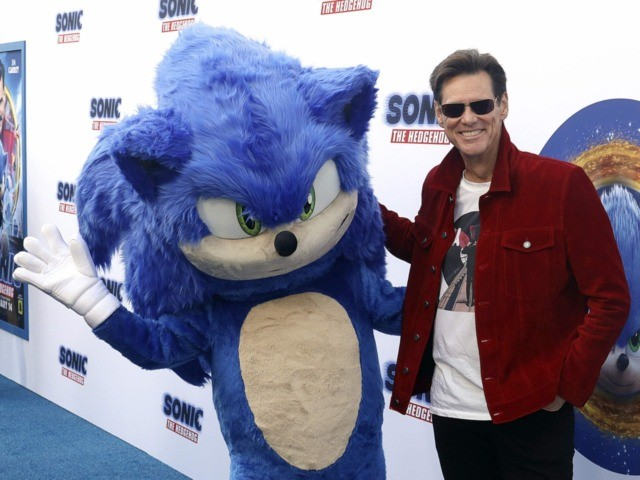 Jim Carrey and Sonic (Willy Sanjuan/Invision/AP)