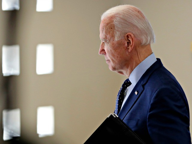 Democratic presidential candidate former Vice President Joe Biden leaves after speaking at a campaign stop, Thursday, Feb. 20, 2020, in Las Vegas. (AP Photo/Matt York)