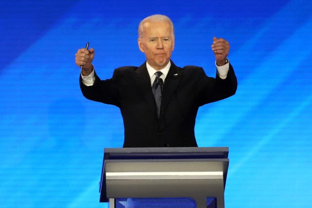 MANCHESTER, NEW HAMPSHIRE - FEBRUARY 07: Democratic presidential candidate former Vice President Joe Biden participates in the Democratic presidential primary debate in the Sullivan Arena at St. Anselm College on February 07, 2020 in Manchester, New Hampshire. Seven candidates qualified for the second Democratic presidential primary debate of 2020 which …