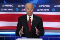 LAS VEGAS, NEVADA - FEBRUARY 19: Democratic presidential candidate former Vice President Joe Biden speaks during the Democratic presidential primary debate at Paris Las Vegas on February 19, 2020 in Las Vegas, Nevada. Six candidates qualified for the third Democratic presidential primary debate of 2020, which comes just days before …