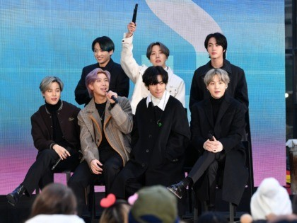 """NEW YORK, NEW YORK - FEBRUARY 21: (L-R) Jimin, Jungkook, RM, J-Hope, V, Jin, and SUGA of the K-pop boy band BTS visit the """"Today"""" Show at Rockefeller Plaza on February 21, 2020 in New York City. (Photo by Dia Dipasupil/Getty Images)"""