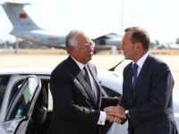 Australian Prime Minister Tony Abbott, right, shakes hands with his Malaysian counterpart Najib Razak as Razak prepares to depart Australia after his visit during the search of the missing Malaysia Airlines flight MH370 at Perth International Airport, Australia, Thursday, April 3, 2014. Najib arrived at the Australian air force base …