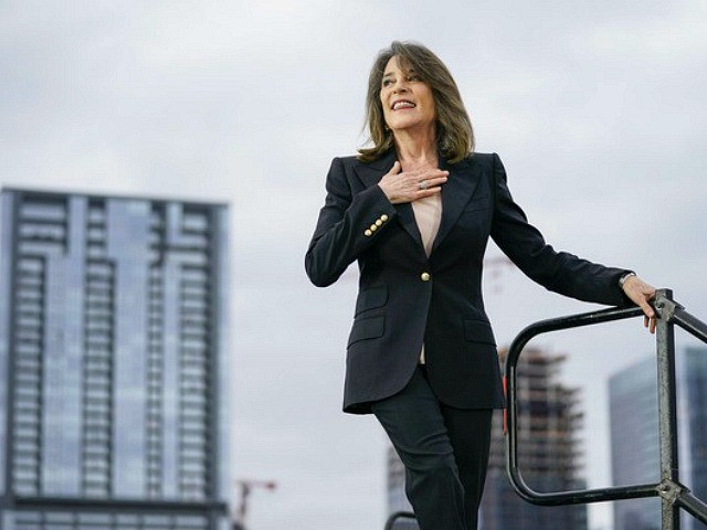 AUSTIN, TX - FEBRUARY 23: Marianne Williamson leaves the stage after endorsing Democratic presidential candidate Sen. Bernie Sanders (I-VT) during a campaign rally at Vic Mathias Shores Park on February 23, 2020 in Austin, Texas. With early voting underway in Texas, Sanders is holding four rallies in the delegate-rich state …