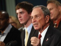 NEW YORK, NY - DECEMBER 17: New York City Mayor Michael Bloomberg speaks in favor of stronger gun control while standing with survivors and family members of gun violence at a press conference at City Hall on December 17, 2012 in New York City. Bloomberg, co-chair of Mayors Against Gun …