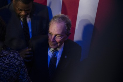 "HOUSTON, TX - FEBRUARY 13: Democratic presidential candidate Mike Bloomberg steps off the stage after a speech at the Buffalo Soldiers National Museum on February 13, 2020 in Houston, Texas. The former New York City mayor launched ""Mike for Black America,"" an effort to focus on key issues relating to …"