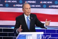 LAS VEGAS, NEVADA - FEBRUARY 19: Democratic presidential candidate former New York City mayor Mike Bloomberg speaks during the Democratic presidential primary debate at Paris Las Vegas on February 19, 2020 in Las Vegas, Nevada. Six candidates qualified for the third Democratic presidential primary debate of 2020, which comes just …