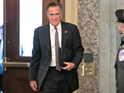Sen. Mitt Romney, R-Utah, arrives on Capitol Hill, Monday, Feb. 3, 2020 in Washington. (AP Photo/Alex Brandon)