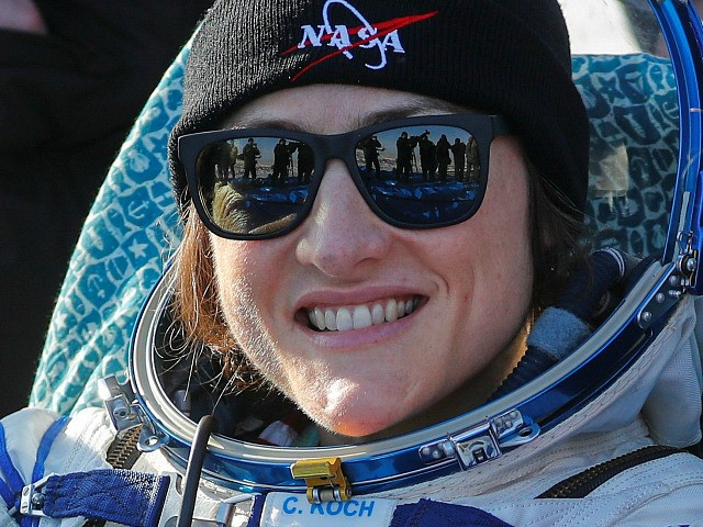 NASA astronaut Christina Koch smiles shortly after landing in a remote area outside the town of Dzhezkazgan (Zhezkazgan), Kazakhstan, on February 6, 2020. - NASA's Christina Koch returned to Earth safely Thursday having shattered the spaceflight record for female astronauts after almost a year aboard the International Space Station. Koch …