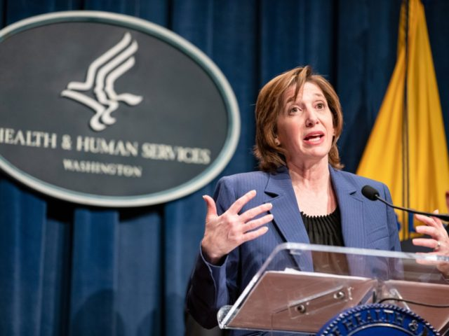 WASHINGTON, DC - JANUARY 28: National Center for Immunization and Respiratory Diseases Director Nancy Messonnier speaks during a press conference today at the Department of Health and Human Services on the coordinated public health response to the 2019 coronavirus (2019-nCoV) as Centers for Disease Control and Prevention Director Robert Redfield …
