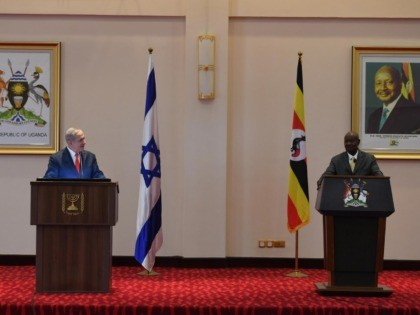 Netanyahu with Ugandan President Museveni