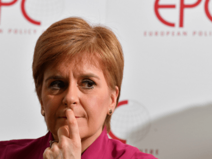 Scotland's First Minister, and leader of the Scottish National Party (SNP), Nicola Sturgeon, looks on during a speech on Scotland's European future after Brexit on February 10, 2020, in Brussels. - First Minister Nicola Sturgeon said end of January she was ready to step up the campaign for Scottish independence, …