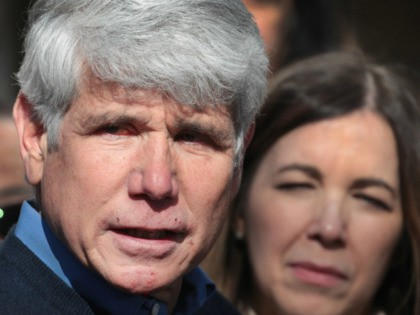 With his wife Patti by his side, former Illinois Governor Rod Blagojevich speaks during a press conference in front of his home on February 19, 2020 in Chicago, Illinois. Blagojevich, who had been serving time in federal prison for attempting to sell Barack Obama's vacant Senate seat when Obama was …