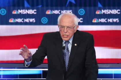LAS VEGAS, NEVADA - FEBRUARY 19: Democratic presidential candidate Sen. Bernie Sanders (I-VT) during the Democratic presidential primary debate at Paris Las Vegas on February 19, 2020 in Las Vegas, Nevada. Six candidates qualified for the third Democratic presidential primary debate of 2020, which comes just days before the Nevada …
