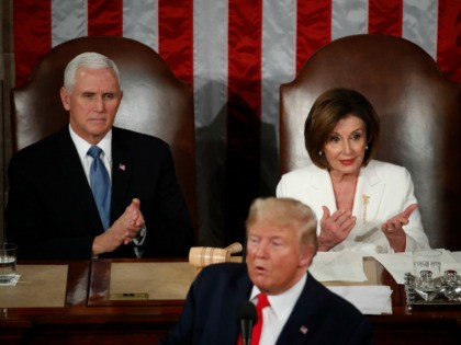 President Donald Trump delivers his State of the Union address to a joint session of Congress on Capitol Hill in Washington, Tuesday, Feb. 4, 2020, as Vice President Mike Pence and House Speaker Nancy Pelosi of Calif., listen. (AP Photo/Alex Brandon)