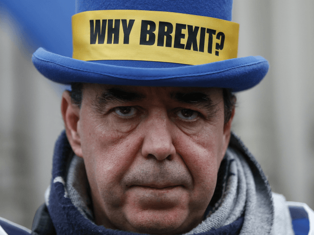 LONDON, ENGLAND: Anti-Brexit campaigner Steve Bray protesting outside of the Houses of Parliament on January 30, 2020 in LONDON, United Kingdom. At 11.00pm on Friday 31st January the UK and Northern Ireland will exit the European Union, 188 weeks after the referendum on June 23rd 2016. (Photo by Hollie Adams/Getty …
