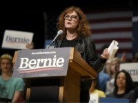 Actress Susan Sarandon speaks at a campaign rally for Democratic presidential candidate U.S. Sen. Bernie Sanders, I-Vt., Friday, Feb. 14, 2020, in Charlotte, N.C. (AP Photo/Meg Kinnard)