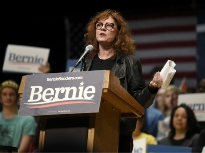 Actress Susan Sarandon speaks at a campaign rally for Democratic presidential candidate U.S. Sen. Bernie Sanders, I-Vt., Friday, Feb. 14, 2020, in Charlotte, N.C. (AP Photo/Meg Kinnard)