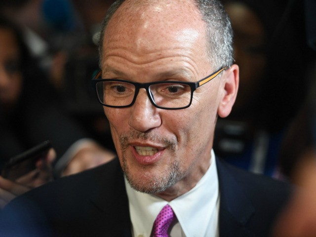 Chair of the Democratic National Committee, Tom Perez, speaks with reporters before the first Democratic primary debate of the 2020 presidential campaign season hosted by NBC News at the Adrienne Arsht Center for the Performing Arts in Miami, Florida, June 26, 2019. (Photo by SAUL LOEB / AFP) (Photo credit …