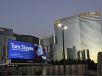 LAS VEGAS, NEVADA - FEBRUARY 19: A campaign billboard of Democratic presidential candidate Tom Steyer is seen February 19, 2020 in Las Vegas, Nevada. Nevada Democrats will hold its presidential caucuses on February 22, the third one in the presidential primary season. (Photo by Alex Wong/Getty Images)