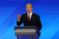 MANCHESTER, NEW HAMPSHIRE - FEBRUARY 07: Democratic presidential candidate Tom Steyer participates in the Democratic presidential primary debate in the Sullivan Arena at St. Anselm College on February 07, 2020 in Manchester, New Hampshire. Seven candidates qualified for the second Democratic presidential primary debate of 2020 which comes just days …