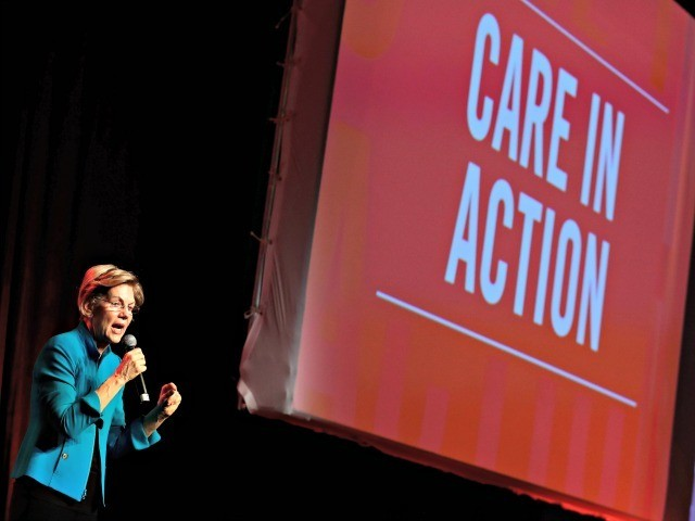 "Democratic presidential candidate Sen. Elizabeth Warren, D-Mass., speaks at a ""Care In Action"" campaign rally, Tuesday, Feb. 18, 2020, in Las Vegas. (AP Photo/Matt York)"
