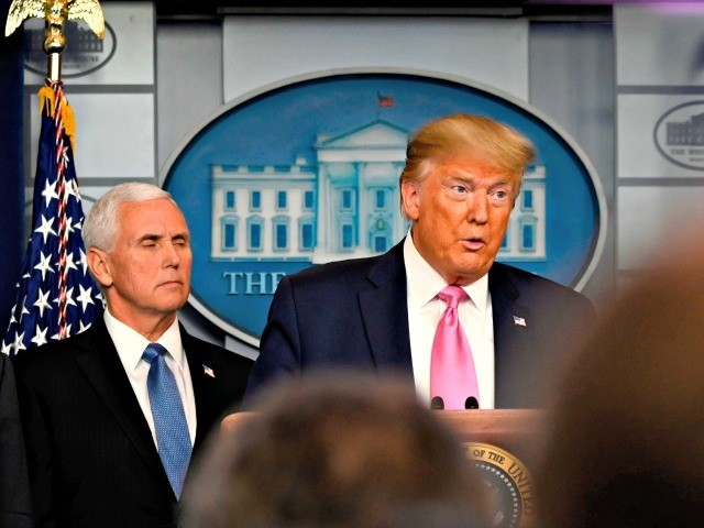 US President Donald Trump holds a news conference on the COVID-19 outbreak with Vice President mike Pence (2-L) and HHS Secretary Alex Azar (L), at the White House on February 26, 2020. - US President Donald Trump on Wednesday defended his administration's response to the novel coronavirus, lashing the media …