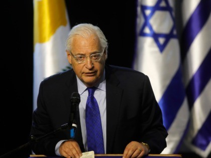 US Ambassador to Israel David Friedman delivers a speech during the 5th Israel-Greece-Cyprus summit attended by the Israeli prime minister, the Cypriot president and Greek prime minister, on December 20, 2018 in the Israeli city of Beersheva. (Photo by Menahem KAHANA / AFP) (Photo credit should read MENAHEM KAHANA/AFP via …