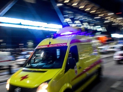 An ambulance leaves the terminal building of the Sheremetyevo Airport outside Moscow after a Russian-made Superjet-100 on fire attempted an emergency landing on May 5, 2019. - The Interfax agency reported that the plane, a Russian-made Superjet-100, had just taken off from Sheremetyevo airport on a domestic route when the …