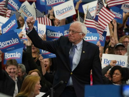 Democratic presidential hopeful Vermont Senator Bernie Sanders arrives to speak at a Primary Night event at the SNHU Field House in Manchester, New Hampshire on February 11, 2020. - Bernie Sanders won New Hampshire's crucial Democratic primary, beating moderate rivals Pete Buttigieg and Amy Klobuchar in the race to challenge …